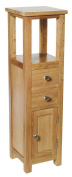 Waverly Oak Tall Cabinet in Light Oak Finish | Small Solid Wooden Bathroom Cupboard / Tower | Bedside Table