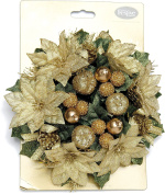 Festive Productions Gold Poinsettia Candle Ring with Berries, 200 mm
