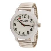 Reizen Low Vision Quartz Watch - White Face - Expansion Band - Unisex