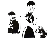 """Mouse Hole Banksy Set of Three """" SMALL BANKSY RAT WITH PAINT TIN AND ROLLER / PARATROOPER / UMBRELLA """" Skirting Board Wall Stickers Vinyl Decal """" 3 x 11cm x 5cm"""