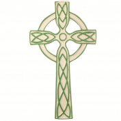 "Ceramic white green celtic wall hanging cross 8"" (19cm) gift Irish ornament"