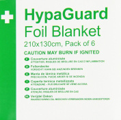 Safety First Aid Q2023T HypaGuard Disposable Foil Blankets, 210 x 130 cm, Set of 6