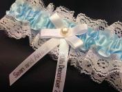 Personalised Wedding Bride Hand Made Luxury Garter Wedding Gift Ivory Something Blue PG102