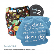 "Baby Tooshy Cloth Nappy Covers with DOUBLE Gussets. Waterproof, Adjustable & Reusable. One Size for Prefolds/ Flats/ Inserts. Set has 1 Embroidered ""Cloth on my bum..."" & 1 Patterned Cover. Puddin'"