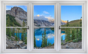 60cm Window Landscape Scene Nature View CANADA MOUNTAIN LAKE DAY #3 WHITE CLOSED Wall Sticker Room Decal Home Office Art Décor Den Mural Man Cave Graphic SMALL