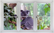 60cm Window Landscape Scene Nature View AUSTRALIAN KOALA BEAR #1 WHITE CLOSED Wall Sticker Room Decal Home Office Art Décor Den Mural Man Cave Graphic SMALL