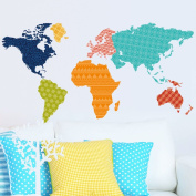 Wallpark Creative Geometric Patterns Colourful World Map Removable Wall Sticker Decal, Children Kids Baby Home Room Nursery DIY Decorative Adhesive Art Wall Mural