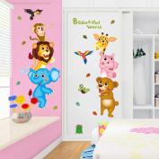Wallpark Cartoon Animal World Cute Monkey Lion Giraffe Bear Removable Wall Sticker Decal, Children Kids Baby Home Room Nursery DIY Decorative Adhesive Art Wall Mural