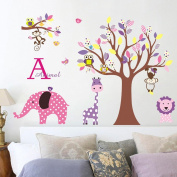 Wallpark Cartoon Cute Giraffe Monkey Owl Flower Tree Removable Wall Sticker Decal, Children Kids Baby Home Room Nursery DIY Decorative Adhesive Art Wall Mural