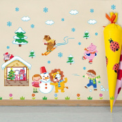 Wallpark Cute Lion Happy Little Boy Girl Playing with Snow Removable Wall Sticker Decal, Children Kids Baby Home Room Nursery DIY Decorative Adhesive Art Wall Mural
