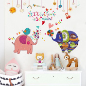 Wallpark Cartoon Cute Elephant Couple Removable Wall Sticker Decal, Children Kids Baby Home Room Nursery DIY Decorative Adhesive Art Wall Mural