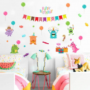 "Wallpark Cartoon Little Monster ""Happy Birthday"" Gifts Balloon Removable Wall Sticker Decal, Children Kids Baby Home Room Nursery DIY Decorative Adhesive Art Wall Mural"