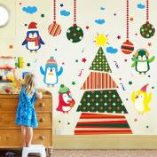 Wallpark Cartoon Cute Penguin Christmas Tree Removable Wall Sticker Decal, Children Kids Baby Home Room Nursery DIY Decorative Adhesive Art Wall Mural