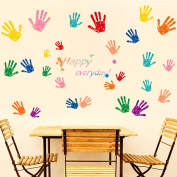 "Wallpark Creative Colourful Handprints English Proverbs ""Happy Everyday"" Removable Wall Sticker Decal, Living Room Bedroom Home Nursery Decoration Adhesive DIY Art Wall Mural"