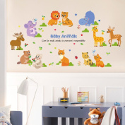 Wallpark Cartoon Animals Cute Giraffe Lion Cat Removable Wall Sticker Decal, Children Kids Baby Home Room Nursery DIY Decorative Adhesive Art Wall Mural
