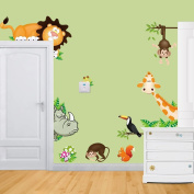 Wallpark Cute Animals Giraffe Lion Naughty Monkey Removable Wall Sticker Decal, Children Kids Baby Home Room Nursery DIY Decorative Adhesive Art Wall Mural
