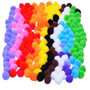 Outus Pompoms for Craft Making and Hobby Supplies 2.5cm , 200 Pieces, Assorted Colours