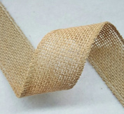3.8cm Burlap Ribbon - 5 Yds - Finished Edge Wired - 100% Natural Jute Burlap Ribbon - Craft Decor Burlap Rustic Natural
