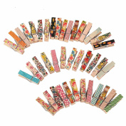 Corasays 50pcs/pack Cute Painted Wood Clip - Mini Colourful Natural Wooden Photo Paper Peg Pin Clothespin Craft Clips