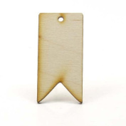Mylittlewoodshop - Pkg of 12 - Tag Flag - 1-1/2 inches by 1 inch with 1 2mm hole and 1/8 inch thick unfinished wood