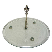 Better & Best 1225083 Glass Stand - Large, Fleur De Lys Silver and with Legs with form of ball