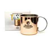 Russian Standard Vodka Mug Metal Copper Gold Branded Drink Camping Outdoor Boxed