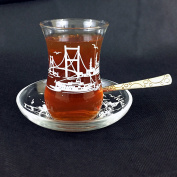 12pcs Tea Glasses Istanbul Patterned Design White Turkish Tea Glass Cay Bardagi Cups Saucers From UK