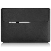 Macbook Pro Case Sleeve, OMOTON Thinnest and Lightest PU Leather Wallet Sleeve for Apple Macbook Pro (33cm , 2016 Released), Built- in Interior Holder for Apple Pencil and Document Pocket, Black