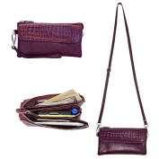 Belfen Leather Wristlets Crossbody Wallet Cell Phone Wallet Wristlet Clutch with 4 Compartments /9 Card Slots/Wrist Strap /Shoulder Strap, Fits iPhone 6/6s plus- Fuchsia