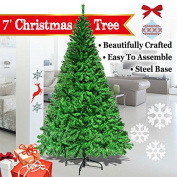 2.1m Green Classic Pine Christmas Tree Artificial Realistic Natural Branches-Unlit 210CM 1000 Tips With Metal Stand
