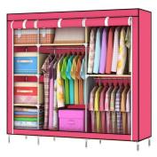 Asunflower New 140cm Portable Closet Storage Organiser Clothes Wardrobe Rack Shelf with 5 Shelves Store for Unisex