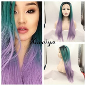 Dark root silky straight Heat Resistant Fibre Hair mermaid ombre green to purple colour wig Synthetic lace front wig for women