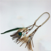 Indiana Princess Peacock Feather Fashion Headband for Women, Head Chain for Girl