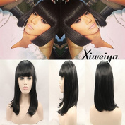 synthetic lace front wig with heat resistant fibre black bob with bangs for women