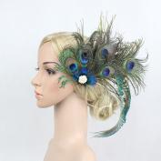 Fascinator Peacock Feather Headdress Wedding Hair Clip Headwear for Women