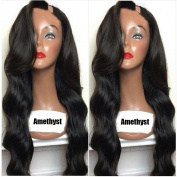 Amethyst 130 Density Grade 8A Brazilian Human Hair Body Wave Upart Wigs Glueless Long Wavy U Part Human Hair Wigs for Black Women