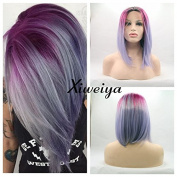 ombre red to purple bob wig with heat resistant fibre mermaid synthetic lace front wig with dark root
