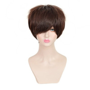 SiYi Men's Free Hair Cap Attack on Titan Eren Jaeger Dark Brown Short Anime Cosplay Wig