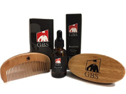 GBS Beard Oil with Premium Oval Wood Beard Brush with Boar Bristles, and Bamboo All Fine Beard Comb