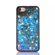 UCLL Iphone 7 Case, Iphone 7 Liquid Case, Gorgeous Design Case for Iphone 7 Cool Quicksand Moving Stars Bling Glitter Flowing Case with a Screen Protector Gold Rose