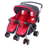 Guo Baby Stroller Twins Trolleys Can Be Folded Two-way Sit Can Be Infants And Young Children Double Stroller(red)
