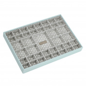 STACKERS Duck Egg Blue Supersize 41 section Stacker Jewellery Box with Grey Polka Dot Lining