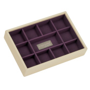 STACKERS Cream Mini 11 section Stacker Jewellery Box Purple Lining