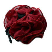 Bgoodgirl Women's Rose Flower Bow Hair Clip Floral Hair Jaw Claw Clip Accessories Rose Red