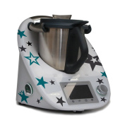 Sticker for Thermomix TM5 - Star Clouds anthrazit türkis