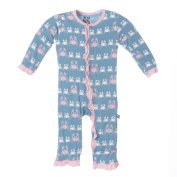 KicKee Pants Baby Girls Print Fitted Ruffle Coverall Prd-kprc577-blmc, Blue Moon Crabby, 3-6 Months