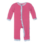 KicKee Pants Baby Girls Fitted Ruffle Coverall, Winter Rose with Pond, 6-12M