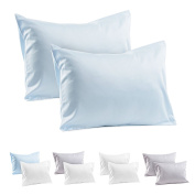 2 Blue Toddler Pillowcases 100% Cotton Sateen Travel Pillow Case, 500 Thread Count Pillowcase Covers 36cm x 48cm , or 33cm x 46cm Toddler Baby Travel Pillows Naturally Hypoallergenic Envelope Style Cases