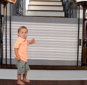 The Stair Barrier - Bannister-to-Bannister Baby/Pet Gate - Regular - Grey Pinstripe