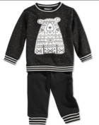 First Impressions 2 Piece Black and White Bear Baby outfit